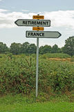A happy retirement in France. A group of French signs saying a happy retirement in France royalty free stock images
