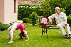 Happy retirement with grandchild Stock Photography