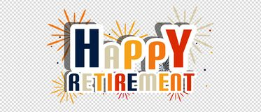 Happy Retirement Letters With Fireworks And Shadow - Vector Illustration - Isolated On Transparent Background vector illustration