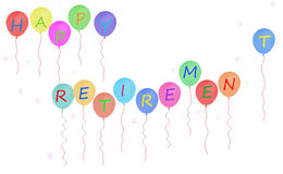 Happy retirement party balloon banner, white background Royalty Free Stock Images