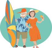 Happy Retirement. Happy senior couple standing with a surf board and a cocktail, vector illustration, EPS 8, no transparencies Royalty Free Stock Photo