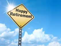 Happy retirement sign. On blue sky background,3d rendered Stock Images