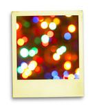 Happy Returns. Christmas (Magic Lights On Aged Polaroid (With clipping path for easy framing your picture Royalty Free Stock Image