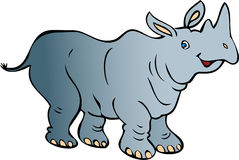 Happy Rhino. A cartoon illustration. A  smiling cheerful gray rhino, Rhinoceros Royalty Free Stock Photography