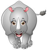 Happy rhino cartoon isolated on white background Stock Photo