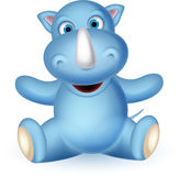 Happy rhino cartoon posing Royalty Free Stock Images