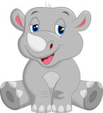 Happy rhino cartoon sitting Royalty Free Stock Photography