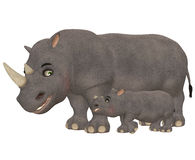 Happy Rhinoceros Family Stock Photo