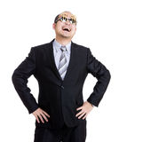 Happy rich businessman wear dollar sign glasses Royalty Free Stock Photo