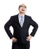 Happy rich businessman wear dollar sign glasses Royalty Free Stock Photo