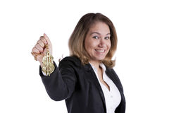 Happy rich businesswoman Royalty Free Stock Image