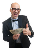 Happy rich man holding a lot of money Stock Images