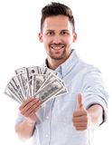 Happy rich man with thumbs up Royalty Free Stock Photos
