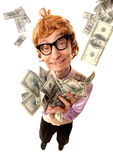 Happy rich nerd royalty free stock image