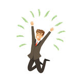 Happy rich successful businessman character having fun, money flying around himvector Illustration. Isolated on a white background Stock Image
