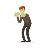 Happy rich successful businessman character with a lot of money vector Illustration. Isolated on a white background Stock Images
