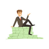 Happy rich successful businessman character sitting on a pile of money banknotes vector Illustration. Isolated on a white background Stock Photos