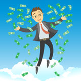 Happy rich successful businessman jumping in the air Royalty Free Stock Photo
