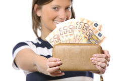 Happy, rich woman Royalty Free Stock Photography