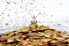 Happy rich woman Stock Images