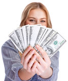 Happy rich woman Royalty Free Stock Photography