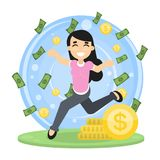 Happy rich woman. royalty free illustration
