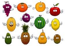 Happy ripe and fresh cartoon fruits Royalty Free Stock Photos