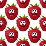 Happy ripe red raspberry seamless pattern Royalty Free Stock Images