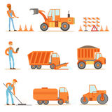 Happy Road Construction And Repair Workers In Uniform And Heavy Trucks At Construction Site Set Of Cartoon Illustrations Royalty Free Stock Photos