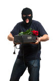 Happy robber come to his girlfriend with a gift Royalty Free Stock Photos