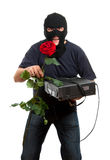 Happy robber come to his girlfriend with a gift Stock Photos