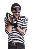 Happy robber holding stolen jewelry. Portrait isolated on white background Royalty Free Stock Photography
