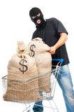 Happy robber with sack full of dollars Royalty Free Stock Photos