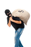 Happy Robber With Sack Full Of Dollars Royalty Free Stock Images