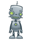 Happy Robot. Cartoon illustration of a happy little robot with green eyes stock illustration