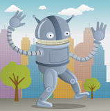 Happy Robot. In the Town Royalty Free Stock Photos