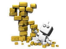 Happy robot and golden cubes. Happy robot sitting on a white background with a lot of precious golden cubes. A Golden dollar symbol made with big golden cubes royalty free illustration
