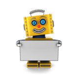 Happy robot holding a blank sign Stock Photography