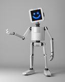 Happy robot presenter standing on white background 3d render Stock Photo
