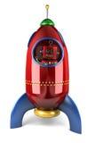 Happy robot in rocket Royalty Free Stock Photo