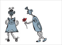 Happy Robots Date. A date of two aliens or robots, male and female, illustration on white Stock Images