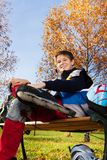Happy roller blade skater Royalty Free Stock Image