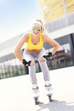 Happy roller blader Stock Photography