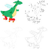 A happy roller skating green dragon. Dot to dot game for kids Royalty Free Stock Photos