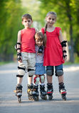 Happy rollerbladers Royalty Free Stock Photography