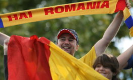 Happy Romanian Supporters Royalty Free Stock Photography