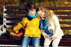 Dreamy autumn kids Stock Image