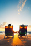 Happy Romantic Couple. Enjoying Beautiful Sunset at the Beach stock photos