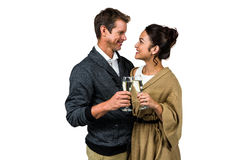 Happy romantic couple with champagne flute Stock Photos