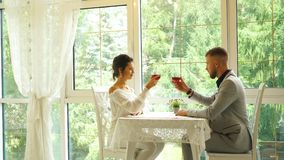 Happy romantic couple cheering with glasses of red wine at restaurant stock video footage